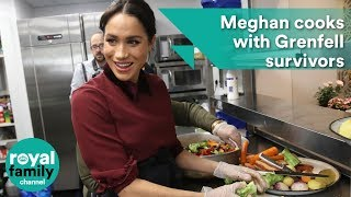 Meghan cooks with Grenfell survivors at community kitchen