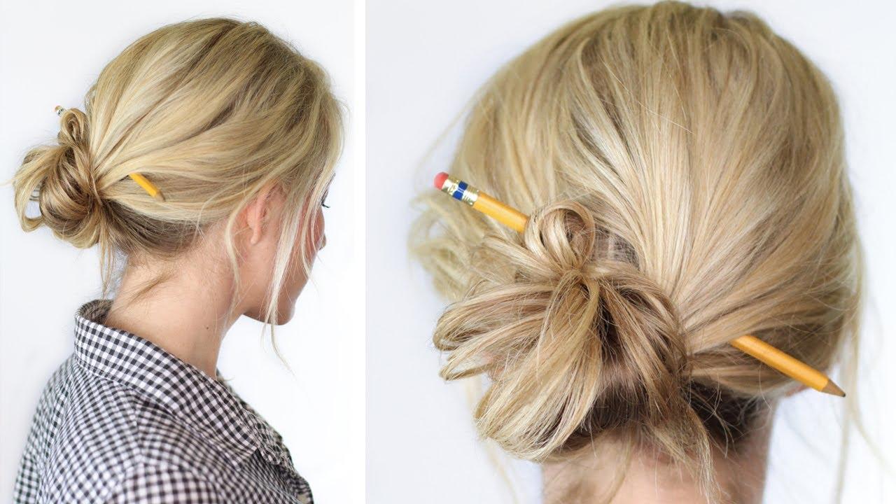 Pencil Bun | Easy style for school - YouTube