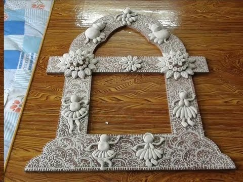 Jharokha mural work on a photo frame part 1 youtube for Clay mural making