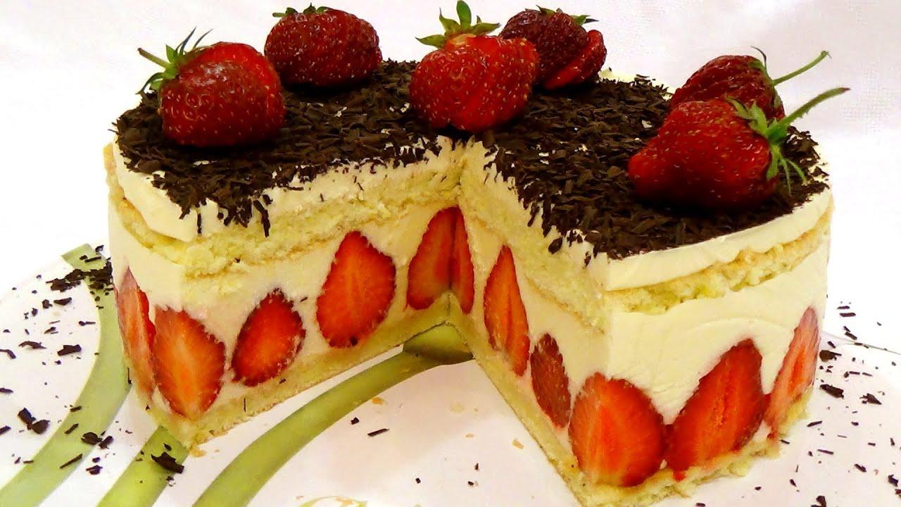 рецепты торта с клубникой и творогом с фото