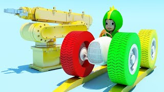 Learn Colors for Children with Baby Dino Monster Truck - Dinosaur Colour Balls 3D Kids Educational