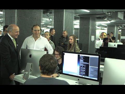 Visite de Laurent Fabius à l'école d'informatique