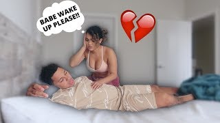 NOT WAKING UP PRANK ON GIRLFRIEND! ** CUTE REACTION **