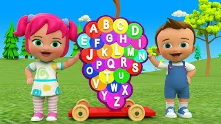 Learn Alphabets for Children ABC Songs Nursery Rhymes - Little Baby Play Grapes Kids Wooden Toy Set