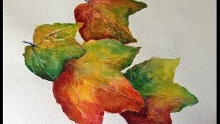 Autumn Leaves watercolor tutorial, how to paint step by step, part 1