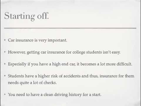 Auto Insurance For College Students - What To Look For