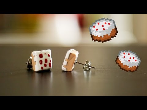 Minecraft Cake Earrings DIY GG