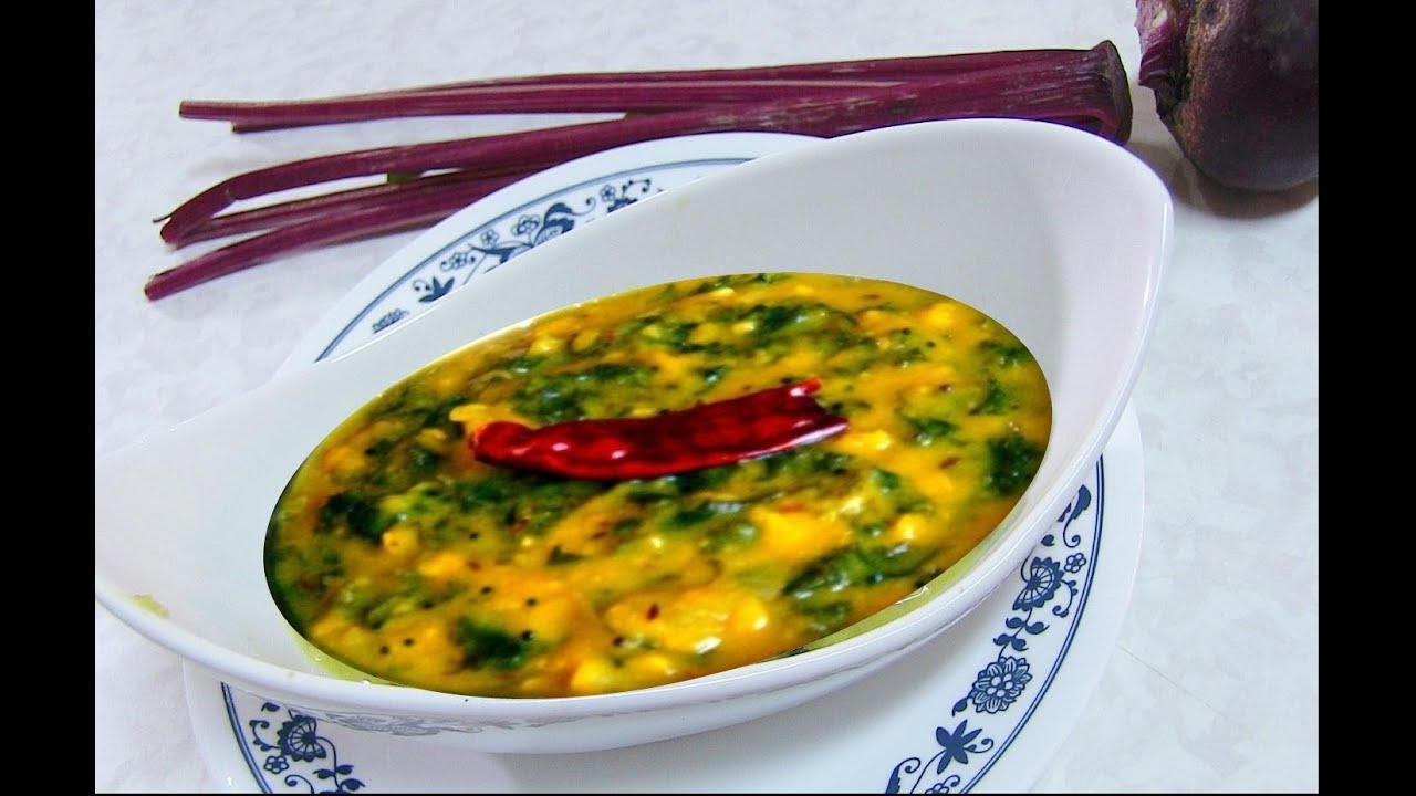 Moong Dal with Beet Root Bhaji Recipe - Yellow Lentil ...