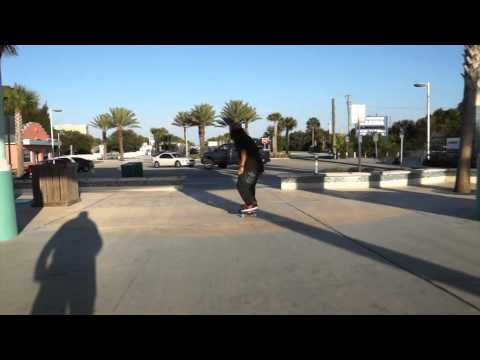 Street Skating a longboard - Tre Flips, Grinds, and 10 stair Gaps with David French