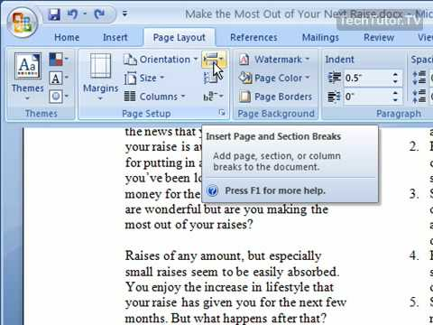 how to get rid of page breaks in word