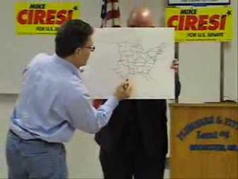 Al Franken Draws The United States Of America at the SD 29 and Dodge County DFL Joint Fundraiser on April 28, 2007 in Rochester, Minnesota. This is very cool...