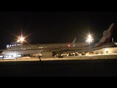 The Mexican Presidential Airplane ( Avion Presidente Juarez ) a Boeing 757-225 ( XC-UJM ) ( TP-01 ) carrying President Enrique Peña Nieto lands at Gander International Airport ( CYQX ) from...