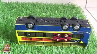 London double deckers bus toy falls to the deep crane rescue him Bus toys collection for children