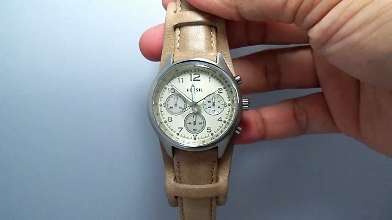Fossil Leather Watch Ladies Leather Cuff Ladies Watch