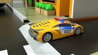 Tìm hiểu màu sắc với Ô tô Máy xúc kéo xe tải van và bóng - Xe tải cảnh sát - Lốp bằng tiếng anh