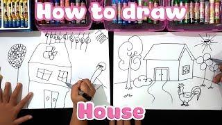 Dạy bé học vẽ ngôi nhà cực dễ ♥ How to draw a house ♥