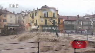 Tanaro river floods streets after burst banks -Italy 24.11.2016