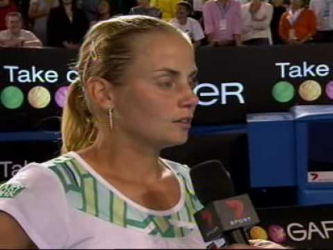 Jelena Dokic oncourt interview after her AO09 R2 win Video