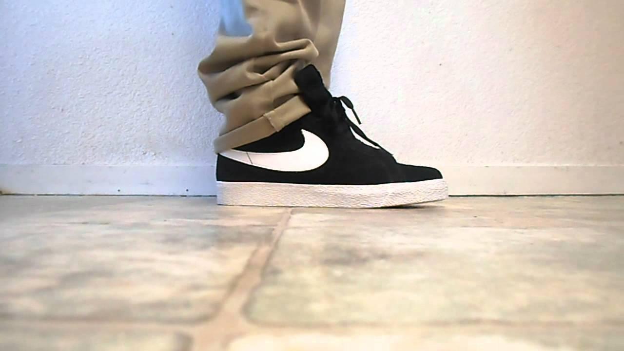 nike sb blazer blackwhite on feet review youtube
