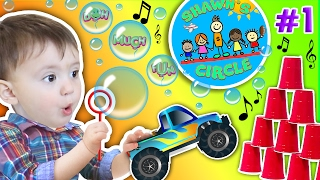 Shawn's Circle: ♫ POPPING BUBBLES ♪ Family Fun Games w/ Baby! Toys Playtime (#1)   DOH MUCH FUN