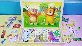 Đồ chơi thiết kế quần áo cho sư tử và gấu 20 bộ quần áo và giày - Toys for kids