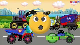 Wrong Colors & Wrong Head Monster Truck for Kids #w   Street Vehicles for Children   Dump Truck