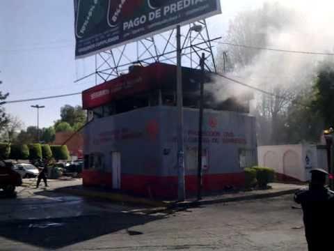 Incendio Bomberos Coacalco Base Centro Quemando Protección Civil no sirve