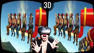 VR VIDEOS 3D Roller Coaster VR Theme Park with TOP 10 ATTRACTIONS VR Split Screen