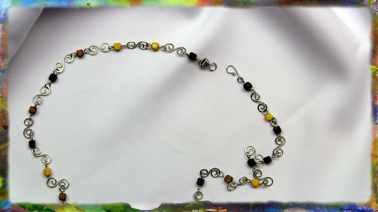How to make a silver wire s link necklace with beads by for Step by step wire jewelry subscription