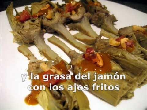 alcachofas con jamón y su salsa