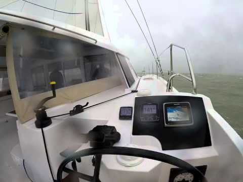 Sailing Nautitech Open 40 - doing 20 knots in heavy weather - yes, she is FAST !!