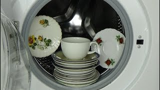 Experiment - test 12 saucers, plates in a Washing Machine - porcelain in a washer, movie #51