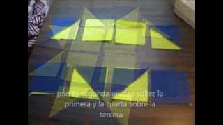 tutorial patchwork block estrella de 8 puntas, 8 points star block,English annotations.wmv