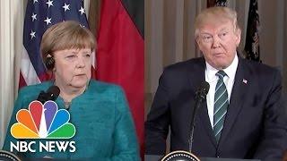 President Trump Reiterates 'Strong Support For NATO' to Germany's Angela Merkel   NBC News