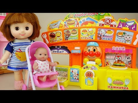 Baby doll and food cooking shop play