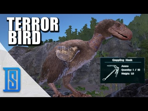 Ark: Survival Evolved- NEW DINO- TERROR BIRD/GRAPPLING HOOK/GRAPPLING QUETZAL!