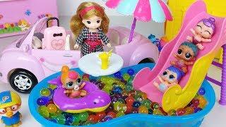 Baby doll house and Orbeez swimming pool toys picnic car play 아기인형 하우스와 개구리알 수영장 리틀미미 뽀로로 장난감 - 토이몽