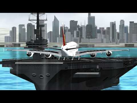 FSX A380-800 PHILIPPINE AIRLINES  XTREME XWIND LANDING IN AN AIRCRAFT CARRIER(near RPLS)1