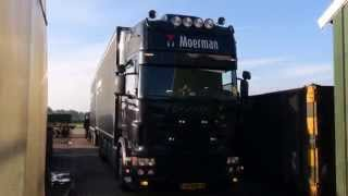 Scania v8 R500 bakwagen - Moerman Transport | Scania v8 sound with open pipe