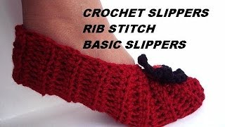 How to CROCHET SLIPPERS, Basic Rib Stitch Unisex Slippers video tutorial