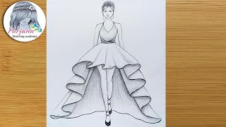 How to draw a girl with beautiful dress for beginners || Drawing Tutorial || كيفية رسم فتاة
