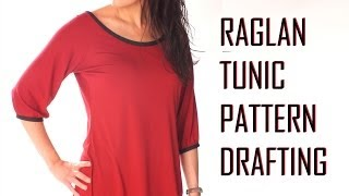 Raglan Tunic/Top Pattern Drafting/neck finish with bias binding / PATTERN DRAFTING TUTORIAL 2