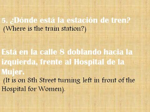 Directions in Spanish : Direcciones en Español