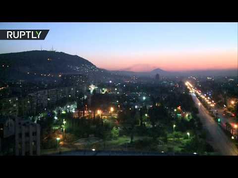 Работа систем ПВО над Дамаском после ударов США по Сирии