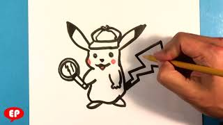 How to Draw Detective Pikachu - Step by Step - Easy Pictures to Draw