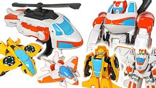Super Wings were attacked by dragon! Transformers Rescue Bots Bumblebee, Blade! - DuDuPopTOY