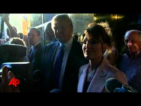 Raw Video: Palin Visits Trump in NYC, Eats Pizza