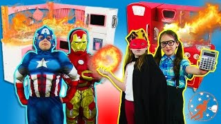 Kids Kitchen 6 w/ Captain America & Iron Man! Kids Cooking, Fire & Popsicles! Kids Toy Kitchen Set