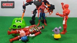 Siêu nhân gao cá sấu cắn tay giải cứu người nhện bị thôi miên đồ chơi trẻ em toy gor kids childrens