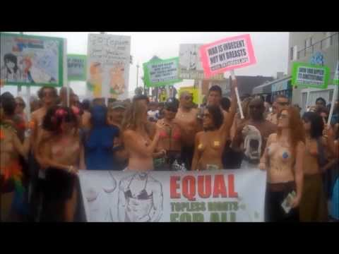 Equal Topless Rights For All Women Topless Protest Part 2 Venice Beach CA
